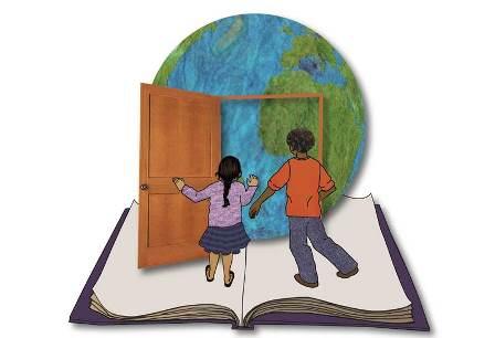 Globe with door and children